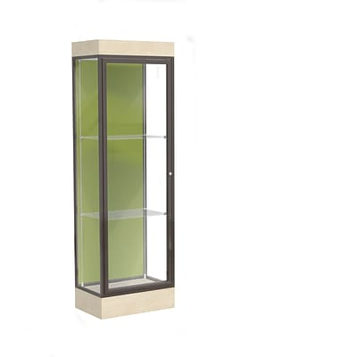 Waddell Edge 24x76x20 Lighted Floor Case, 6Base, Pale Green Back, Dk Bronze Fin, Chardonnay Base