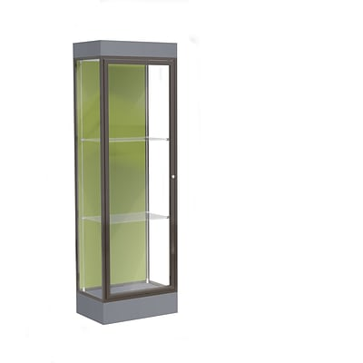 Waddell Edge 24x76x20 Lighted Floor Case, 6 Base, Pale Green Back, Dk Bronze Fin, Carbon Mesh