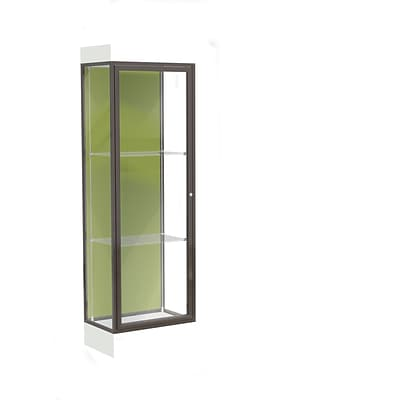 Waddell Edge 24x76x20 Lighted Floor Case, 6 Base, Pale Green Back, Dk. Bronze Fin, Frosty White