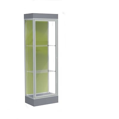 Waddell Edge 24x76x20 Lighted Floor Case, 6Base, Pale Green Back, Satin Finish, Carbon Mesh Base
