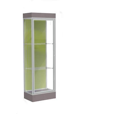 Waddell Edge 24x76x20 Lighted Floor Case, 6 base, Pale Green Back, Satin Fin, Morro Zephyr Base