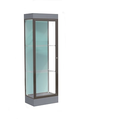 Waddell Edge 24x76x20 Lighted Floor Case, 6 base, Pewter Back, Dk. Bronze Fin, Carbon Mesh Base
