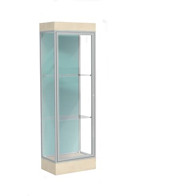 Waddell Edge 24W x 76H x 20D Lighted Floor Case, 6 base, Pewter Back, Satin Fin, Chardonnay Base