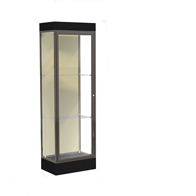 Waddell Edge 24W x 76H x 20D Lighted Floor Case, 6 base, Silk Back, Dk Bronze Finish, Black Base