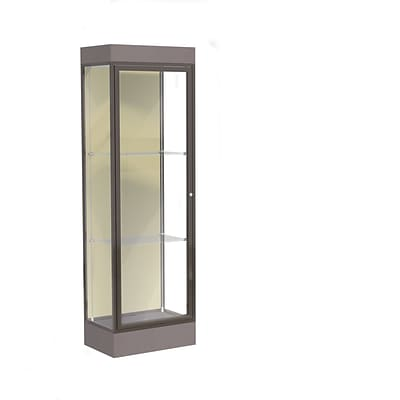 Waddell Edge 24x76x20 Lighted Floor Case, 6Base, Silk Back, Dk. Bronze Finish, Morro Zephyr Base