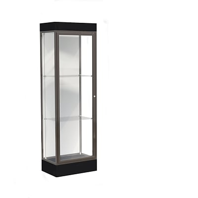 Waddell Edge 24W x 76H x 20D Lighted Floor Case, 6 base, White Back, Dk. Bronze Fin, Black Base