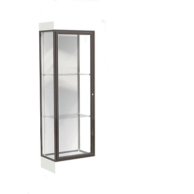 Waddell Edge 24x76x20 Lighted Floor Case, 6 base, White Back, Dk. Bronze Fin, Frosty White Base