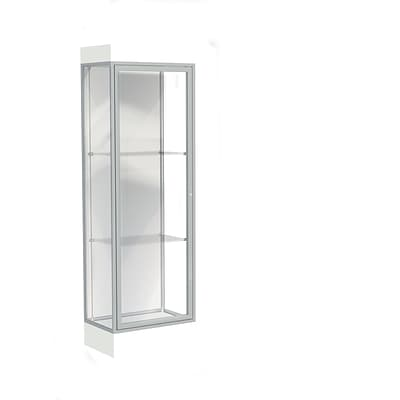 Waddell Edge 24W x 76H x 20D Lighted Floor Case, 6 base, Wht Back, Satin Fin, Frosty Wht Base