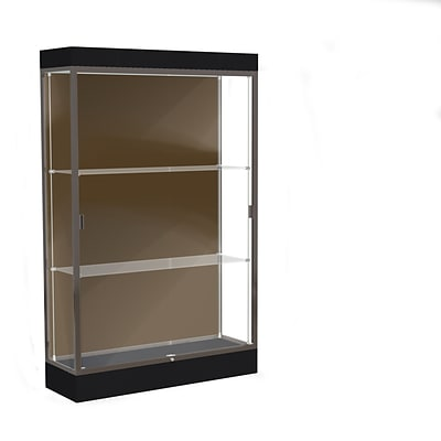 Waddell Edge 48x76x20 Lighted Floor Case, 6 base, Chocolate Back, Dk. Bronze Finish, Black Base