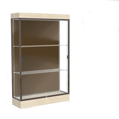 Waddell Edge 48x76x20 Lighted Floor Case, 6Base, Chocolate Back, Dk. Bronze Fin, Chardonnay Base