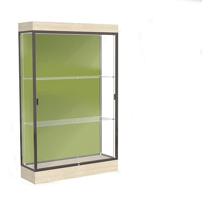Waddell Edge 48x76x20 Lighted Floor Case, 6Base, Pale Green Back, Dk Bronze Fin, Chardonnay Base