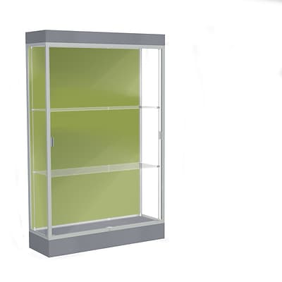 Waddell Edge 48x76x20 Lighted Floor Case, 6Base, Pale Green Back, Satin Finish, Carbon Mesh Base