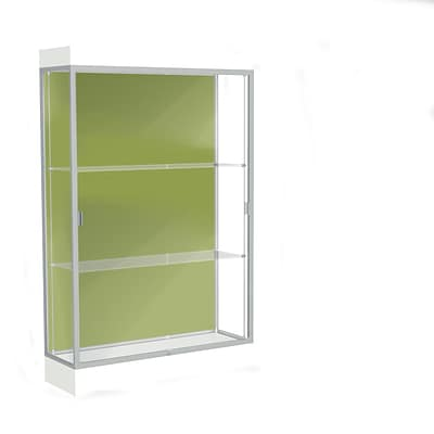 Waddell Edge 48x76x20 Lighted Floor Case, 6 base, Pale Green Back, Satin Fin, Frosty White Base