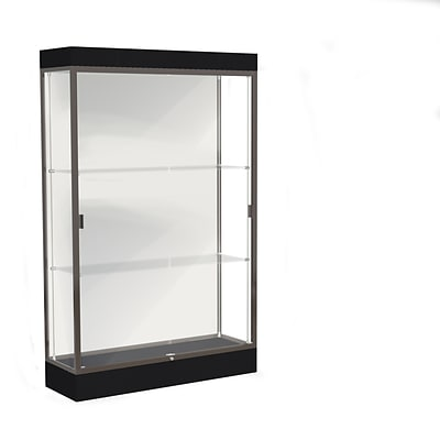 Waddell Edge 48W x 76H x 20D Lighted Floor Case, 6 base, White Back, Dk. Bronze Fin, Black Base