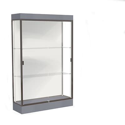 Waddell Edge 48x76x20 Lighted Floor Case, 6Base, White Back, Dk. Bronze Finish, Carbon Mesh Base