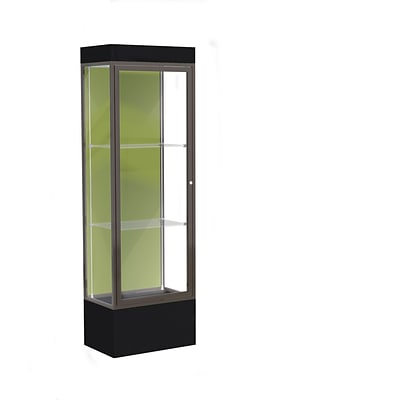 Waddell Edge 24x76x20 Lighted Floor Case, 12Base, Pale Green Back, Dk. Bronze Finish, Black Base