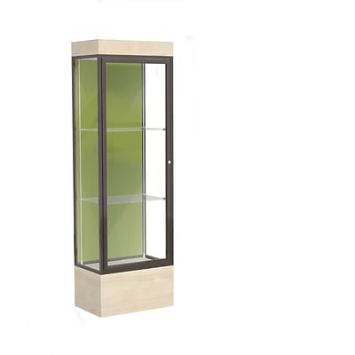 Waddell Edge 24x76x20 Lighted Floor Case, 12 Base, Pale Green Back, Dk Bronze Fin, Chardonnay