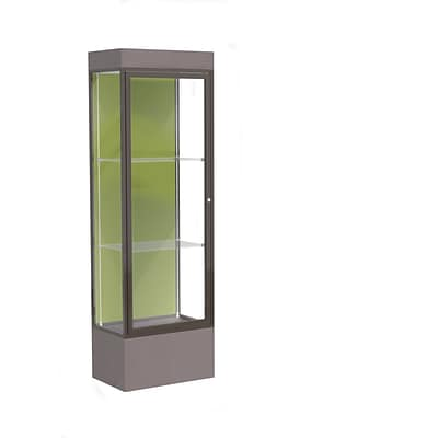 Waddell Edge 24x76x20 Lighted Floor Case, 12 Base, Pale Green Back, Dk. Bronze Fin, Morro Zephyr