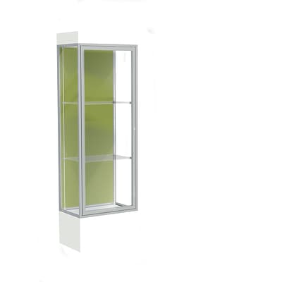 Waddell Edge 24x76x20 Lighted Floor Case, 12 base, Pale Green Back, Satin Fin, Frosty White Base