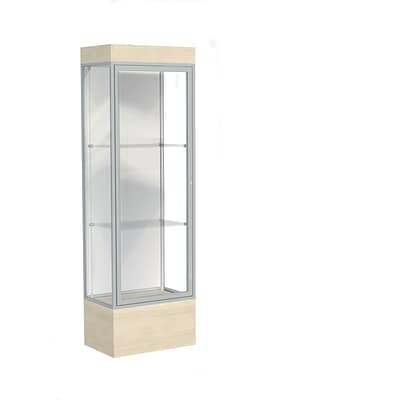Waddell Edge 24W x 76H x 20D Lighted Floor Case, 12 base, White Back, Satin Fin, Chardonnay Base