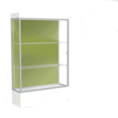 Waddell Edge 48x76x20 Lighted Floor Case, 12 base, Pale Green Back, Satin Fin, Frosty White Base