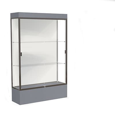 Waddell Edge 48x76x20 Lighted Floor Case, 12 base, White Back, Dk. Bronze Fin, Carbon Mesh Base