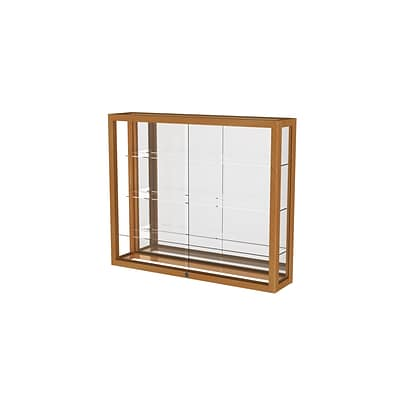 Waddell Heirloom 36W x 30H x 8D Wall Case, Mirror Back w/ Autumn Oak Finish