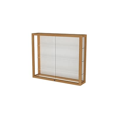 Waddell Heirloom 36W x 30H x 8D Wall Case, White Back, Honey Maple Finish