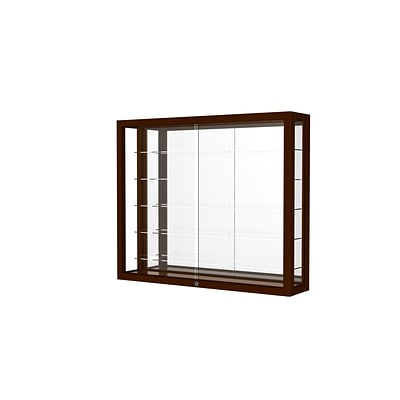 Waddell Heirloom 36W x 30H x 8D Wall Case, Mirror Back, Cordovan Finish
