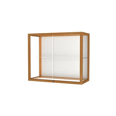 Waddell Heirloom 36W x 30H x 14D Wall or Top Case, White Back, Autumn Oak Finish