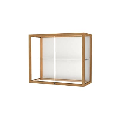 Waddell Heirloom 36W x 30H x 14D Wall or Top Case, White Back, Honey Maple Finish