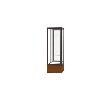 Waddell Keepsake 24W x 72H x 24D Floor Case, Mirror Back, Dk. Bronze Finish, Carmel Oak Base