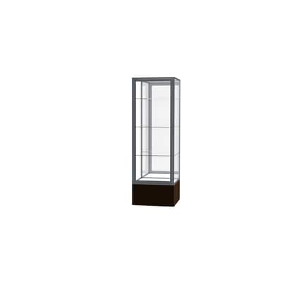 Waddell Keepsake 24W x 72H x 24D Floor Case, Mirror Back, Satin Finish, Walnut Vinyl Base