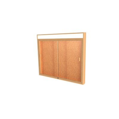 Waddell Legacy 50W x 42H x 4 D Lighted Header Wall Case, Cork Back, Autumn Oak Finish, Gold Trim