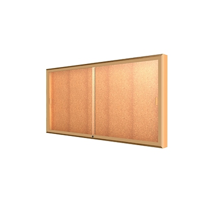 Waddell Legacy 72W x 36H x 4D Wall Case, Cork Back, Autumn Oak Finish, Gold Trim