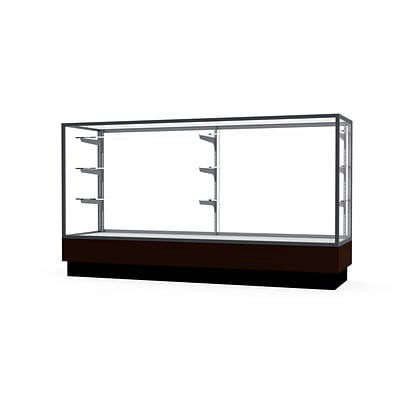 Waddell Merchandiser 72W x 40H x 20D Counter Case, Satin Finish, Walnut Base