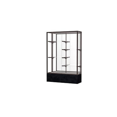 Waddell Monarch 48W x 72H x 16D Floor Case, Mirror Back, Dk. Bronze Finish, Black Marble Base