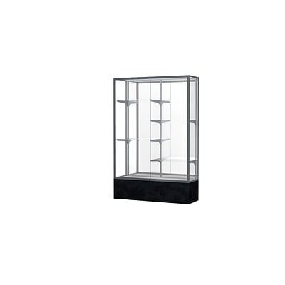 Waddell Monarch 48W x 72H x 16D Lighted Floor Case, Mirror Back, Satin Finish, Black Marble Base