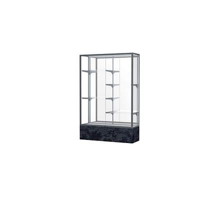 Waddell Monarch 48W x 72H x 16D Floor Case, Mirror Back, Satin Finish, Silver Swirl Base