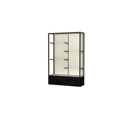 Waddell Monarch 48W x 72H x 16D Lighted Floor Case, Plaque Back, Dk Bronze Fin, Black Marble Base