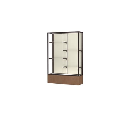 Waddell Monarch 48W x 72H x 16D Lighted Floor Case, Plaque Back, Dk. Bronze Fin, Beige Stone Base