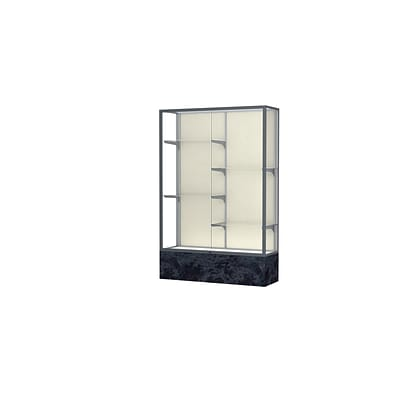 Waddell Monarch 48W x 72H x 16D Lighted Floor Case, Plaque Back, Satin Finish, Silver Swirl Base