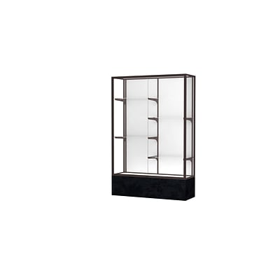 Waddell Monarch 48W x 72H x 16D Lighted Floor Case, White Back, Dk. Bronze Fin, Black Marble Base