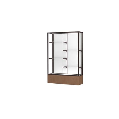 Waddell Monarch 48W x 72H x 16D Lighted Floor Case, White Back, Dk. Bronze Fin, Beige Stone Base