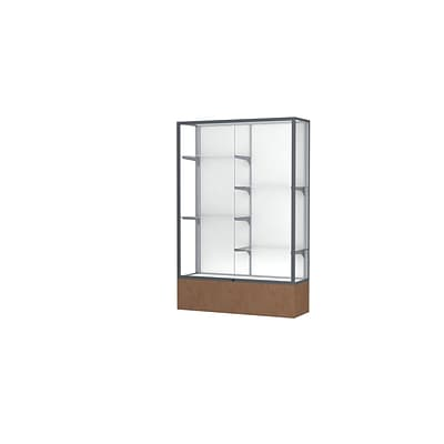 Waddell Monarch 48W x 72H x 16D Lighted Floor Case, White Back, Satin Finish, Beige Stone Base