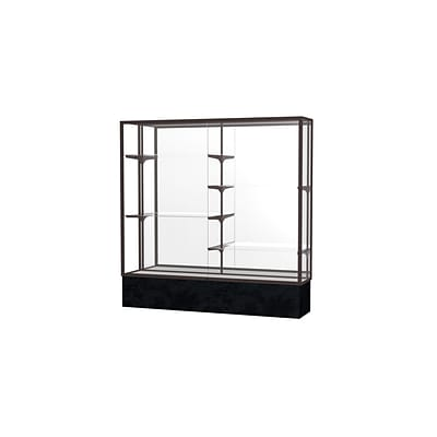 Waddell Monarch 72W x 72H x 16D Floor Case, Mirror Back, Dk. Bronze Finish, Black Marble Base