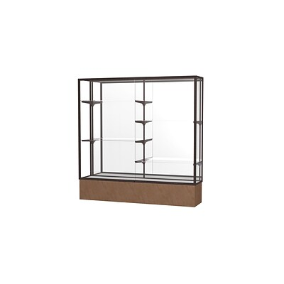 Waddell Monarch 72W x 72H x 16D Floor Case, Mirror Back, Dk. Bronze Finish, Beige Stone Base