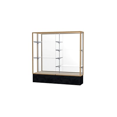Waddell Monarch 72W x 72H x 16D Floor Case, Mirror Back, Champagne Finish, Black Marble Base