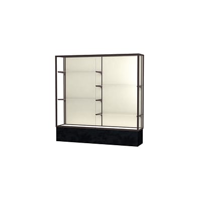 Waddell Monarch 72W x 72H x 16D Floor Case, Plaque Back, Dk. Bronze Finish, Black Marble Base