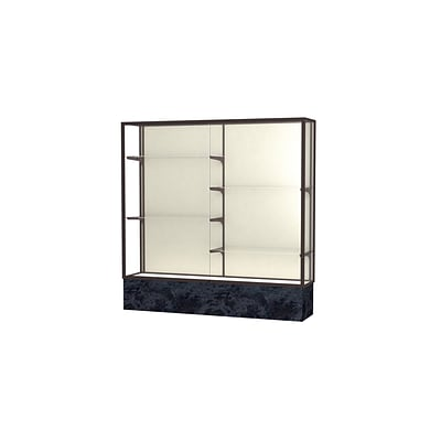 Waddell Monarch 72W x 72H x 16D Lighted Floor Case, Plaque Back, Dk Bronze Fin, Silver Swirl Base